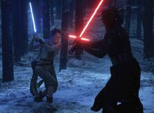 Rey and Kylo Duel