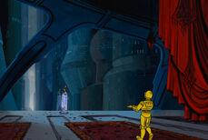 Padme y C-3PO en su apartamento durante la Guerra de los Clones