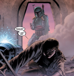 Boba Fett attacks Luke Skywalker