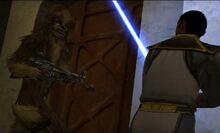 Chewie y Jaden (personalizado) enfrentandose a los mercenarios en Tatooine