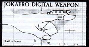 Arma digital Jokaero Rogue Trader ilustración