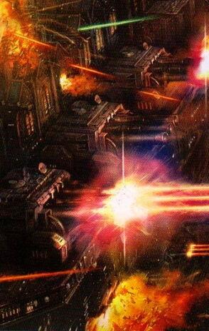 Flota lanzas navales abriendo fuego