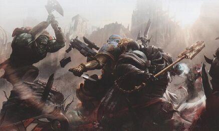 Capellan Grimalfus luchando en Armageddon