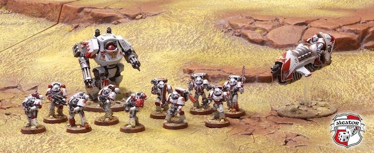 Fuerza Cicatrices Blancas Herejía Escuadra Táctica Asalto Dreadnought Contemptor Motocicleta a Reacción Wikihammer