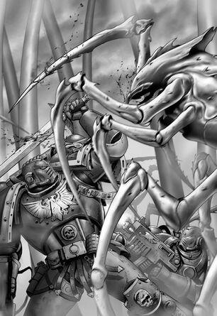 Hijos del Emperador luchando en Muerte contra Megarácnidos