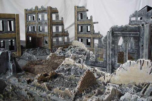 Pintura escenografia ciudad ruinas