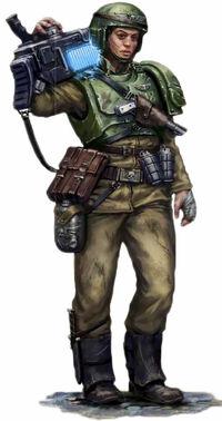 Soldado con rifle de plasma