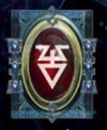 Simbolo eldar runa cazadores carmesíes