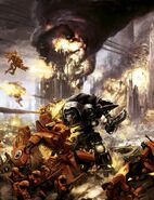 Caballero Imperial destruye XV104 Cataclismo Tau