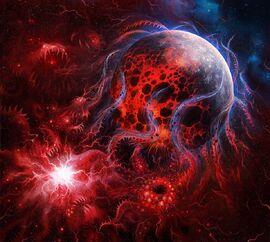 Tormenta de disformidad azotando un planeta