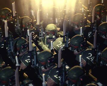 Guardia imperial tropas de asalto en formación