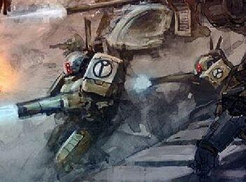 Equipo Mimético XV15 Sombra Tanque Cabezamartillo vs Marines Espaciales