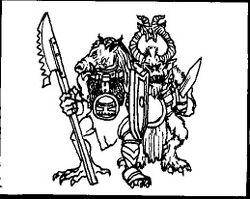 Hombres Bestia Esclavos Khorne Caos 1ª Edición ilustración