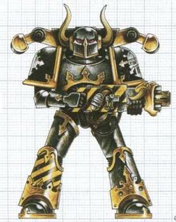 Caos guerrero hierro esquema armadura