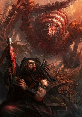 Masacrador Sangriento Khorne Only War ilustración