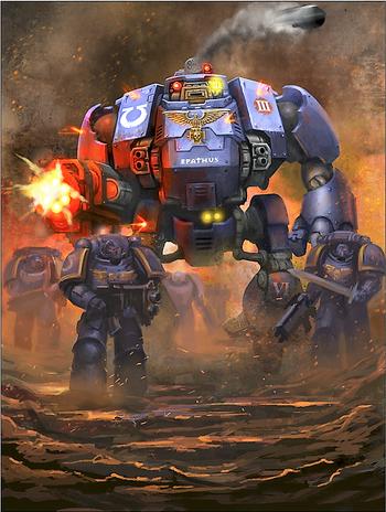 Epathus Dreadnought Redemptor Primaris Ultramarines 8ª Edición ilustración