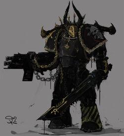 Caos guerrero de hierro bolter espada