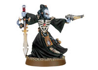 Brujo con espada bruja y pistola shuriken