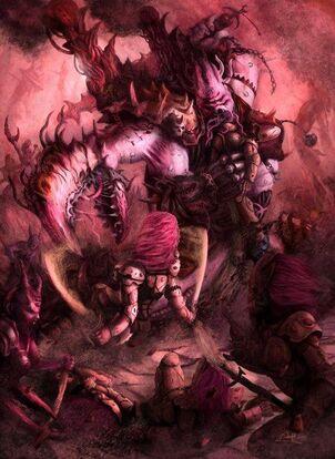 Caos demonio principe de slaanesh Vs eldars espectros aullantes