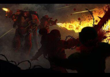 Caos marines khorne combate lanzallamas vs gi