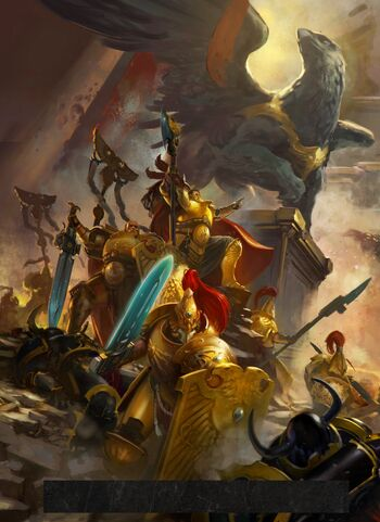 Trajann Valoris Custodes vs Legión Negra 8ª Edición ilustración
