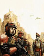 Guardia imperial comisario soldados