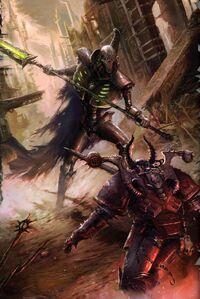 Vortice Aullante Lider Supremo Necron Guerrerro Campeon del Caos Marines Espaciales Wikihammer