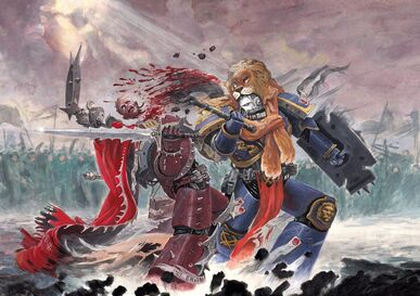 Veterano de Vanguardia Ultramarine mata Campeón del Caos Portador de la Palabra