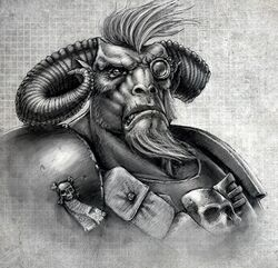 Gor Mediocuerno Hombre Bestia Cazarrecompensas Necromunda Underhive ilustración