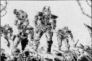 Escudos Blancos avanzando Guardia Imperial Pete Knifton 1ª Edición ilustración