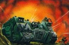 Land Raider Zakeado Orkos Warhammer 40,000 CCG ilustración