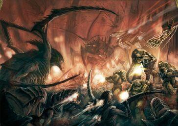Marines puños imperiales vs tiranidos planeta Drashin