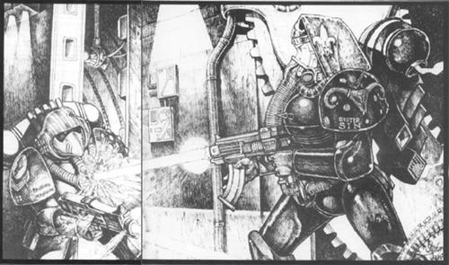 Vermillion Guerrero del Arco Iris vs Sin Adepta Sororitas Stephen Tappin 1ª Edición ilustración