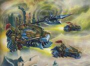 Imperio custodios motocicletas ataque mundo astronave