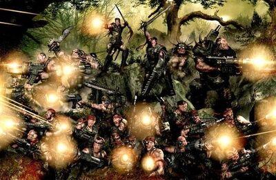 Guardia imperial tropas de jungla de catachan escuadra