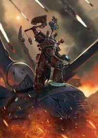 Berserker Khorne sobre Titán Eldar