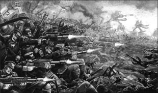 Guardia imperial mordia batalla contra caos