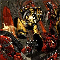 Piños imperiales defendiendo terra wikihammer