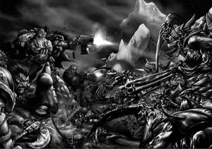 Batalla Lobos Espaciales Slavok Tiránidos en Shadrac