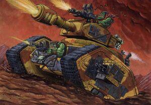 Leman Russ Zakeado Orkos Warhammer 40,000 CCG ilustración