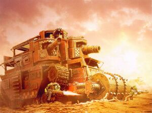 Fortaleza Rodante Apizonadora de Muerte Orkos Forge World diorama