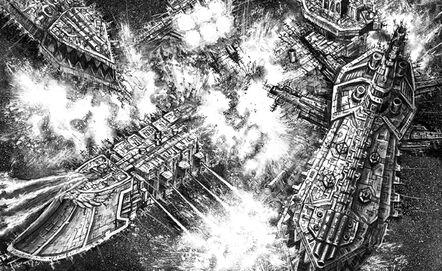 Enfrentamiento Flota Imperial Fuerzas del Caos Crucero Clase Devastacion Wikihammer