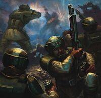 Guardia imperial recarga rifle laser en combate