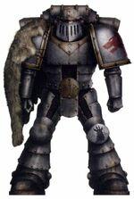 Legionario Lobos Espaciales servoarmadura Mk. II Cruzada FW ilustración