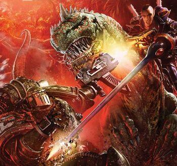 Legionario Salamandras vs. Guerrero Dragón Exodita Eldar
