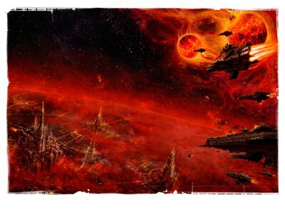 Flota imperial sobre planeta sistema binario