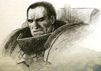 Primarca Ferrus Manus Manos de Hierro Bosquejo Legiones Astartes Gran Cruzada Wikihammer