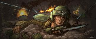 Guardia imperil soldado cubierto fuego enemigo