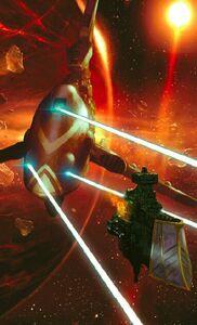 Eldar flota nave dragon vs imperio crucero