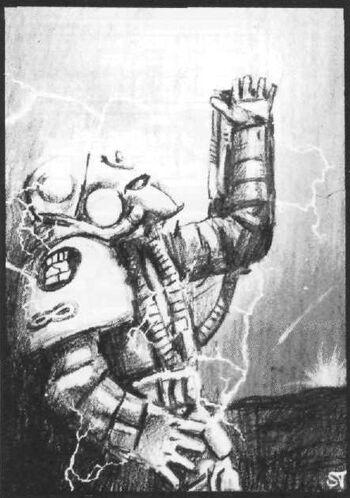 Puño Carmesí granada de disrupción 1ª Edición Stephen Tappin ilustración